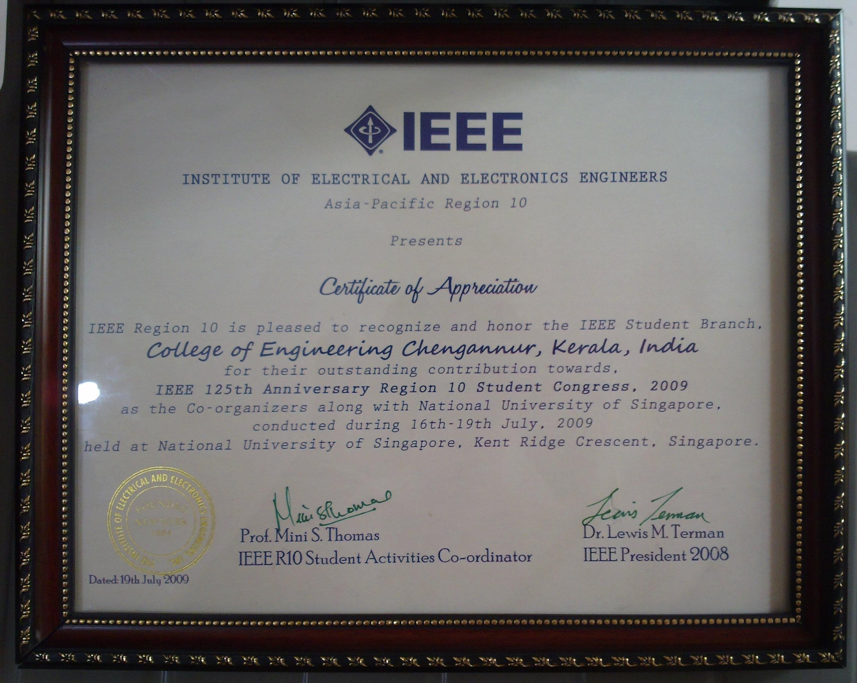 IEEE R10 SC Certificate for CEC