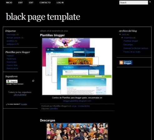 plantilla Black Page para blogger