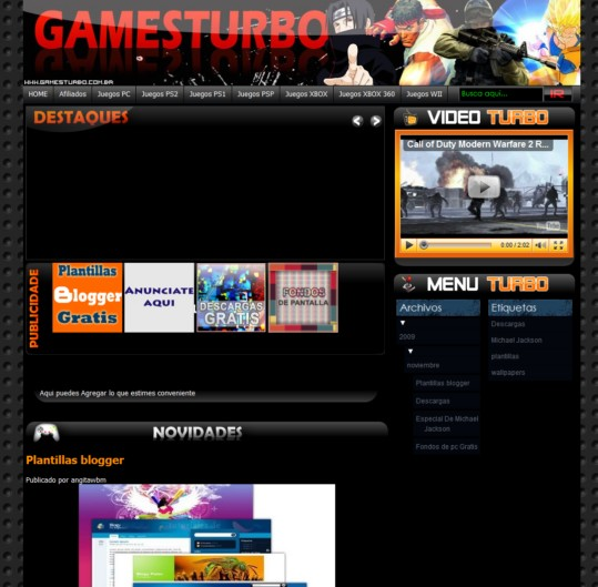 Plantilla Game Turbo para blogger