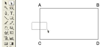 長方形ツールで、表全体の枠を描きます